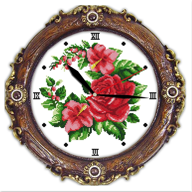 Happy Mikey Embroidery Cross Set Clock Cross Stitch Chinese Counted Cross Stitch Pattern 11CT 14CT Printed On Canvas Home Decor 11CT Printed Pattern