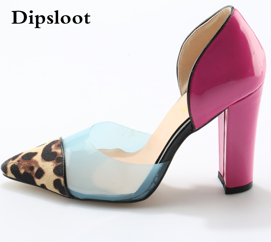 Сексуальная Мода Прозрачный Насосы С Цветными Блоками Леопард Скольжения На Розовый Коренастый Женщины Ну Вечеринку Обувь Высокие Каблуки Насосы 42