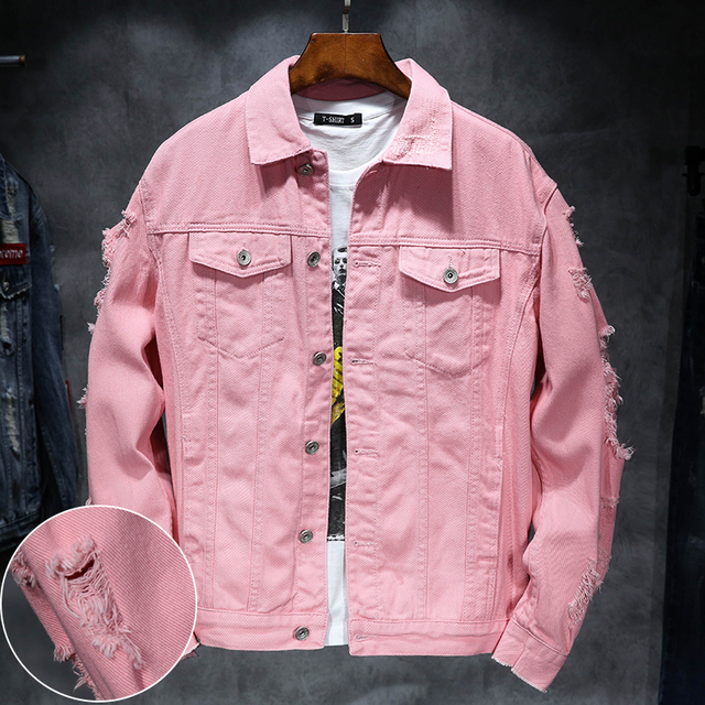 Yuwaijiaren Denim Jacket Men Ripped Holes Mens Pink Jean Jackets New