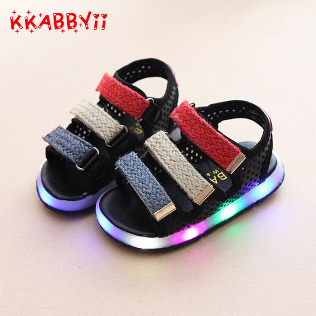 Baby Sandals 2018 New Summer Fashion Candy Color Led Sandals Shoes For  Girls Boys Children Beach Shoes Boys Sandals 21-30