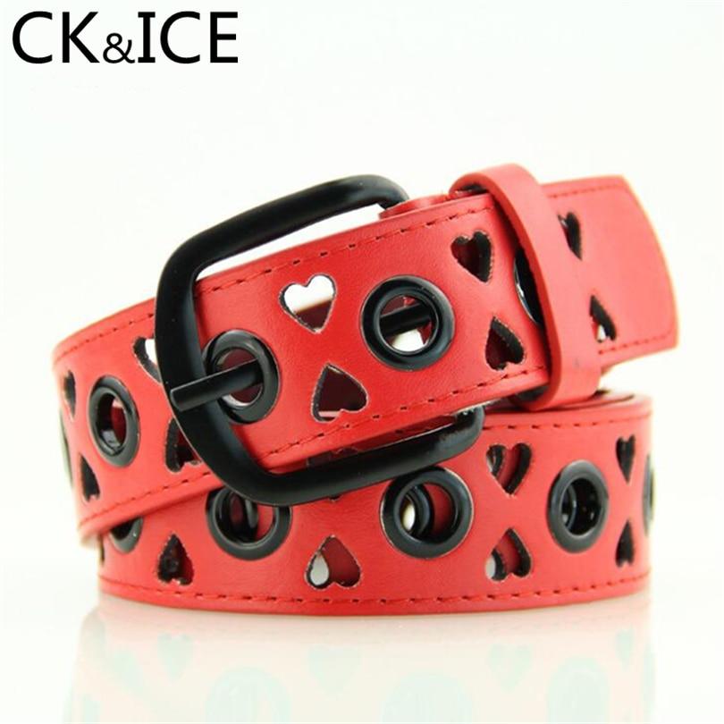 CK&ICE Children's Belts Faux Leather Belt Boy Girl Fashion Strap Belts Candy Color Hollow Out Loving Heart Letter D Buckle Belt