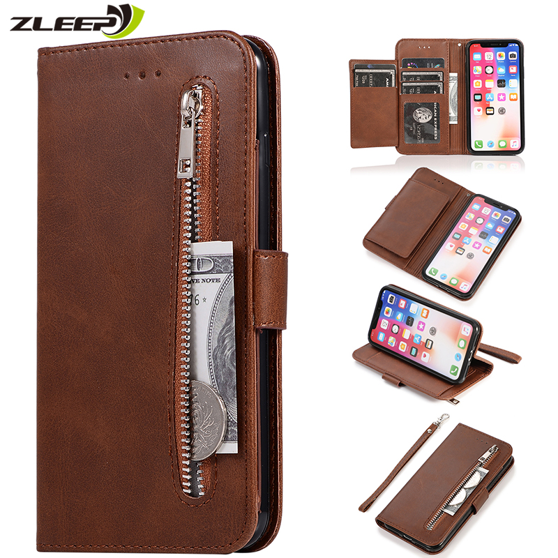 <font><b>Leather</b></font> Zipper 8plus Flip Wallet Case For <font><b>iPhone</b></font> 11 Pro X XS MAX XR <font><b>6</b></font> 6s 7 8 Plus Card Holder Stand Phone <font><b>Cover</b></font> Coque Etui Mujer image