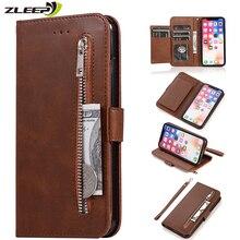 Leather Zipper 8plus Flip Wallet Case For iPhone
