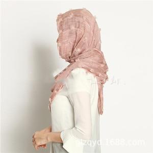 Image 2 - M3 High quality dyed printed crinkle hijab plain viscose scarf hijab shawl women long  scarf/scarves 10pcs   180*90cm