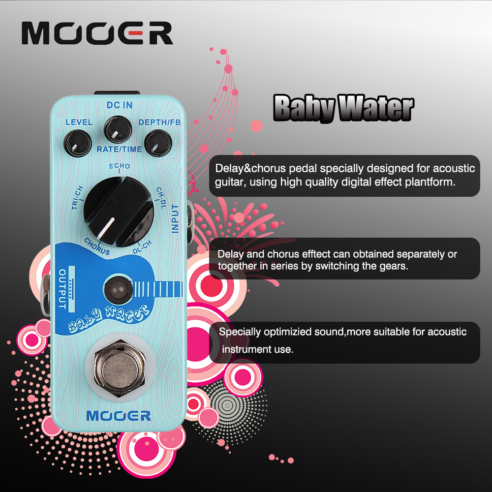 Mooer Single Acoustic Delay Chorus Effects True Bypass Baby Water Effect Guitar Pedal new effect pedal mooer solo distortion pedal full metal shell true bypass