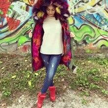 Fashion black/ army green/ camouflag fabric fur coats multi faux fur lined real fox fur collar hood fur parka jacket mr mrs fur