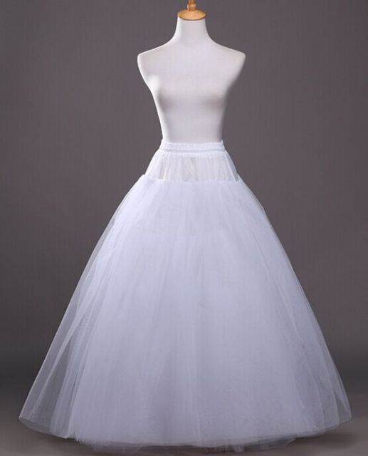 52016 Wedding Dress Crinoline Bridal Petticoat Underskirt 2 Hoops with Chapel Train