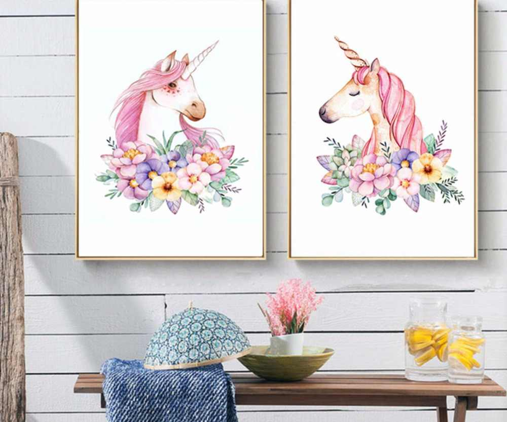 Super Cute Children Poster Rainbow Unicorn Lover Canvas Painting Wall Art Print Picture Nordic Kids Bedroom Decor Christmas Gift