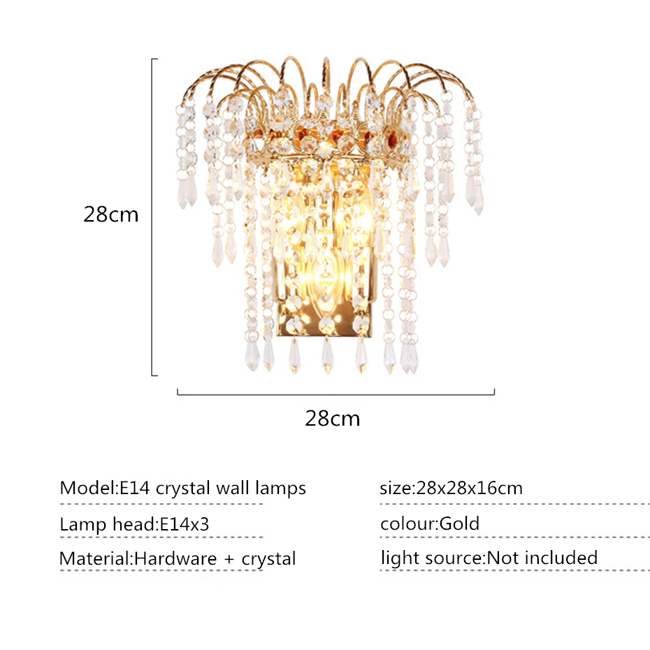 Modern Art High Grade Crystal Wall Lamp European 3 head E14 Wall Light For Home Bedroom Living Room Indoor Decoration in Wall Lamps from Lights Lighting