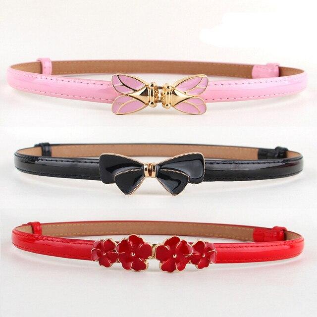 Cinturón caliente cinturones de cintura ajustable Rosa esmalte arco Correa  flor cigarra hebilla de oro plateado 94d6af4443f0