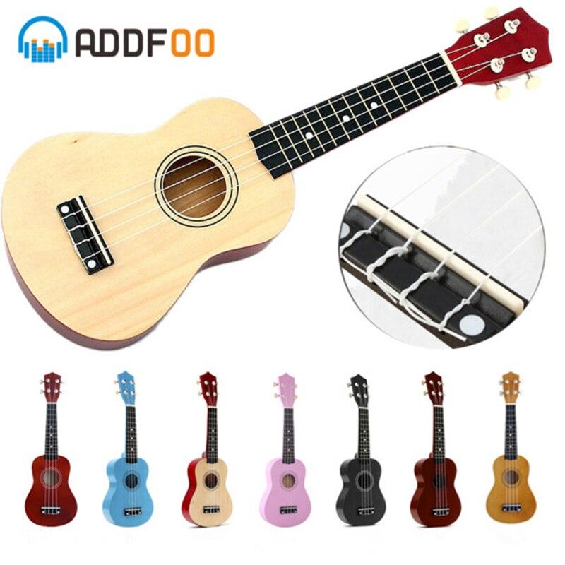 Ukulélé ADDFOO 21 pouces Ukelele Soprano 4 cordes guitare hawaïenne en épicéa Basswood Uke + ficelle + Instrument à cordes Pick