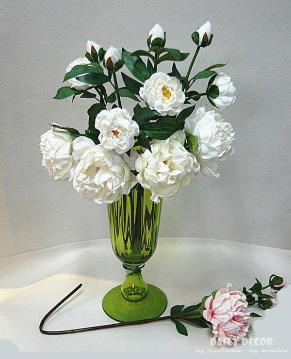 En gros!!! Vraie/naturelle touche PU pivoine fleur longue tige grande 3 têtes maison décorative Paeonia suffruticosa 12 pcs/lot
