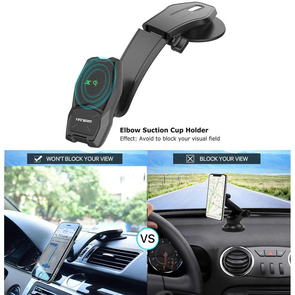 Yianerm magnético QI cargador inalámbrico soporte de teléfono de coche 10W soporte de carga rápida inalámbrica para iPhone Xs Max 8 Plus samsung Nota 9