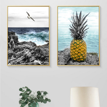 Seascape Pineapple Seagull Canvas Painting Abstract Nordic Posters Prints Wall Art Pictures for Living Room Home Decor Unframed