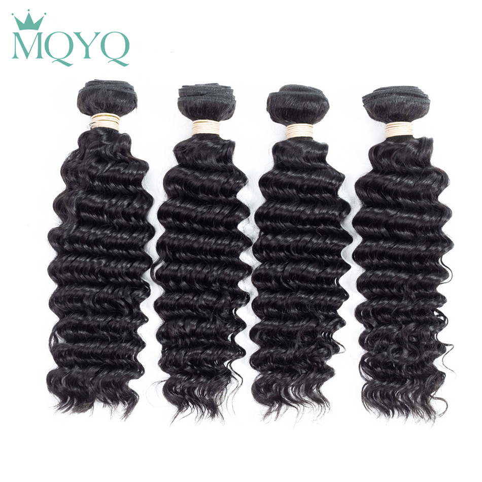 MQYQ Curly Human Hair Bundles Brazilian Deep Wave Weave Bundles 4pcs/lot Hair Extension 1B Natural Black Color