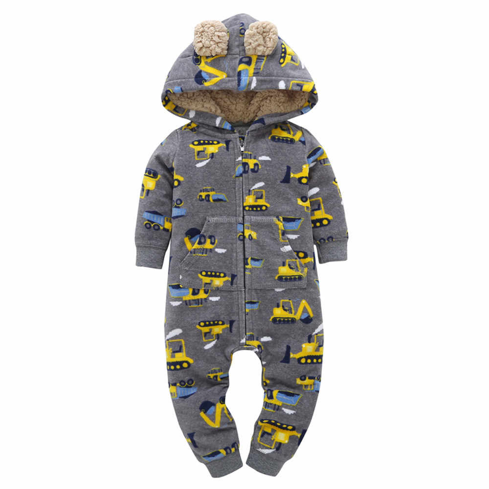 High quality Baby winter clothes Infant Baby Boys Girls Thicker Print Hooded Romper Jumpsuit Outfit Kid Clothes Warm comfortable