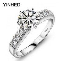 YINHED оригинальный 100% 925 стерлингового серебра обручальные кольца для Для женщин Роскошные 1 карат CZ Diamant Обручение кольцо Модные украшения ZP68