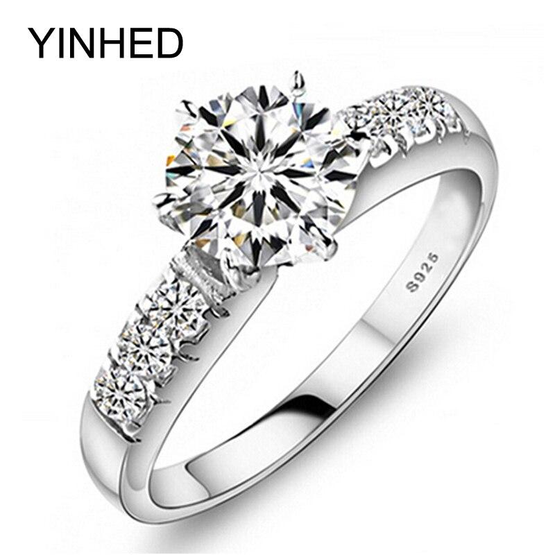 YINHED D'origine 100% 925 Anneaux De Mariage En Argent Sterling Pour Les Femmes De Luxe 1 Carats CZ Diamant Bague de Fiançailles Bijoux De Mode ZP68