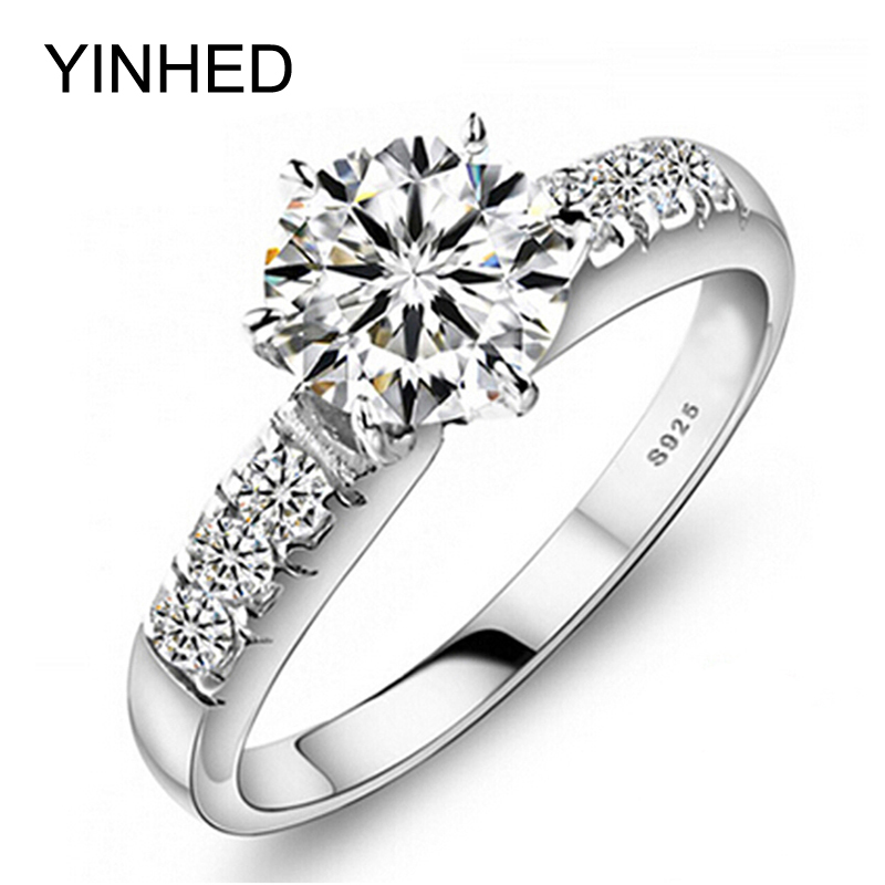 YINHED Original 100% 925 Sterling Silver Wedding Rings For Women Luxury 1 Carat CZ Diamant Engagement Ring Fashion Jewelry ZP68
