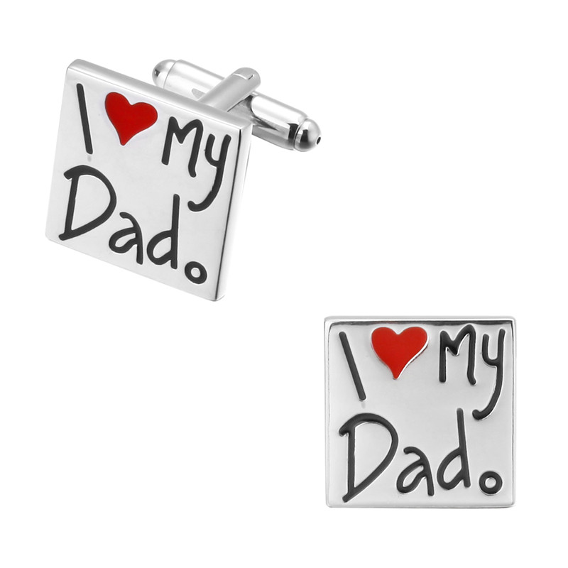 Fashion design letter I love my wife I love my father on fathers Day Wedding Cufflinks Copper material man shirt Cufflinks