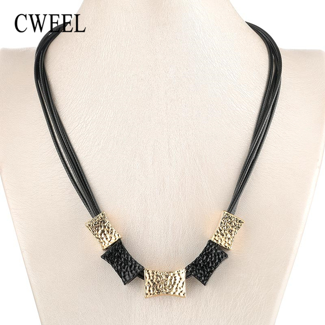 CWEEL תליון שרשראות קולר שרשרת לנשים בציר חתונה תכשיטי הצהרת שרשרת זהב צבע שרשרת עור שרשראות