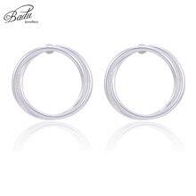 Badu Round Twisted Stud Earring Geometric Circle for Women Brincos Silver Punk Jewelry Wholesale