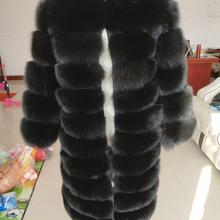Coat Black Winter Real Natural Warm Fur Fox-Fur Fashion-Style New-Brand