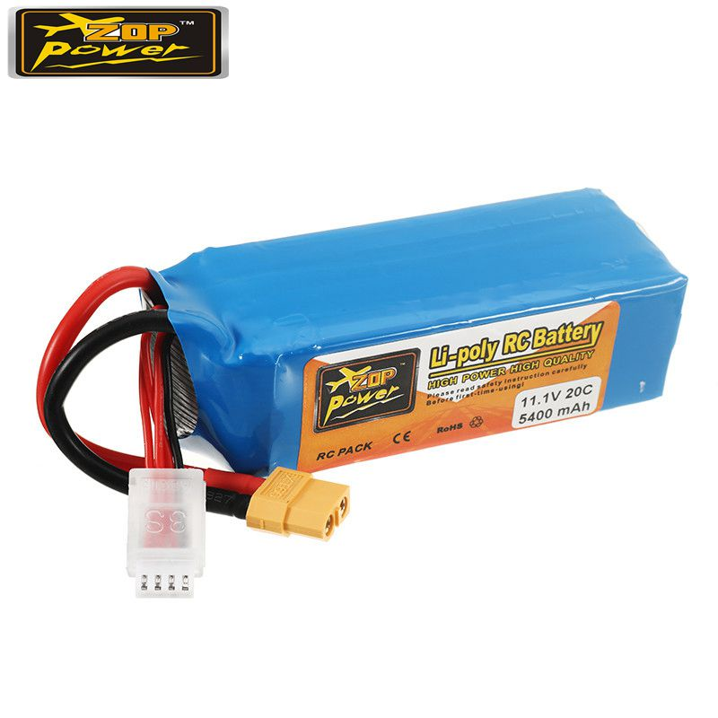 ZOP Power 11.1V 5400mah 20C 3S Rechargeable Lipo Battery XT60 Plug for RC Drone Quadcopter High Quality Spare Parts Accs high quality zop power 14 8v 2200mah 4s 45c lipo battery t plug rechargeable lipo battery for rc helicopter part