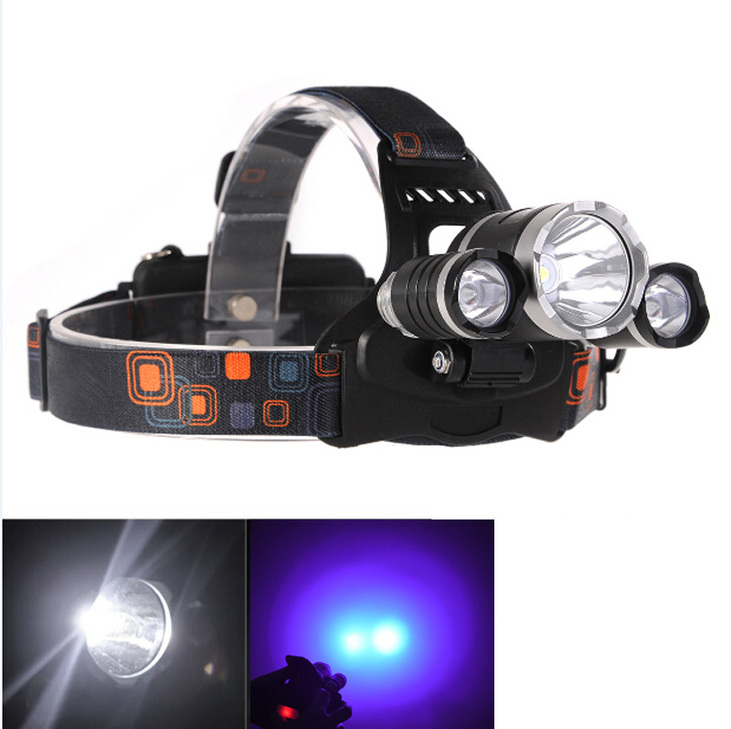 Super Bright Ultraviolet 5000 Lumen T6+2R5 UV LED Headlight 4Mode Headlamp Hunting lights for Camping Lamp (NO include Battery)