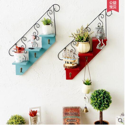 A Eropa Tangga Hiasan Dinding Rumah Ruang Balkon Bunga Rak Kait Coffee Dekorasi Di Patung Miniatur Dari Taman