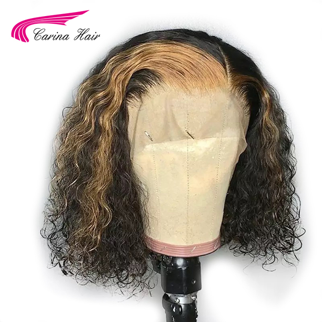 Carina Ombre lace Front Human Hiar Wigs With Baby Hair wavy Remy Hair Brazilian Lace Front Wigs 130 Density With Highlight