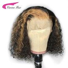 Carina Ombre lace Front humano Hiar pelucas con minimechones pelo ondulado Remy pelucas brasileñas de encaje frontal 130 de densidad con reflejos