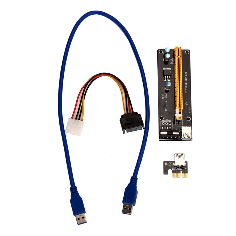 D3 PCI-E Express Powered Riser Card W/ USB 3.0 extender Cable 1x to 16x Monero
