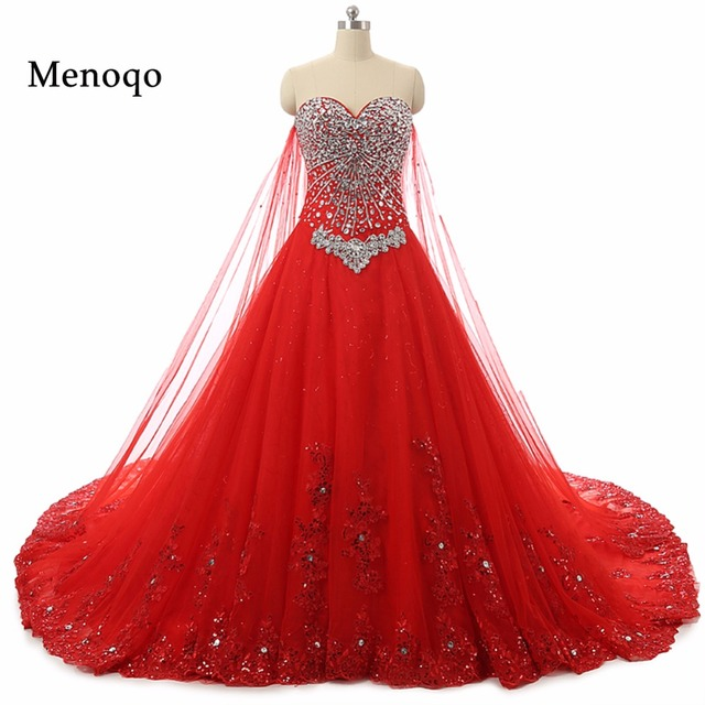Red A line Sweetheart Beaded Applique Lace Up Back Bridal Gowns ...