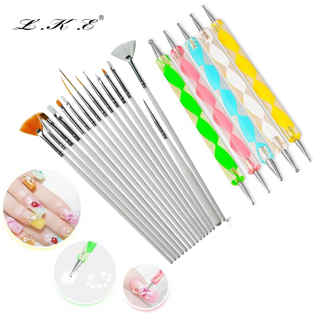 20pc Nail Art Design Painting Dotting Pen Brushes Tool Kit Set: LKE 20 Pcs/set Nail Art Design Set Dotting Pen Drawing