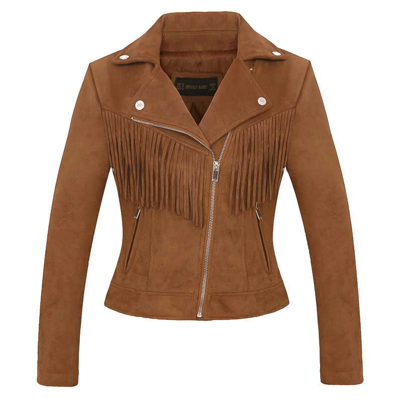 brown faux   leather   Women high quality   suede     leather   jacket spring fall new casual fashion ladies tassel coat biker jacket pink