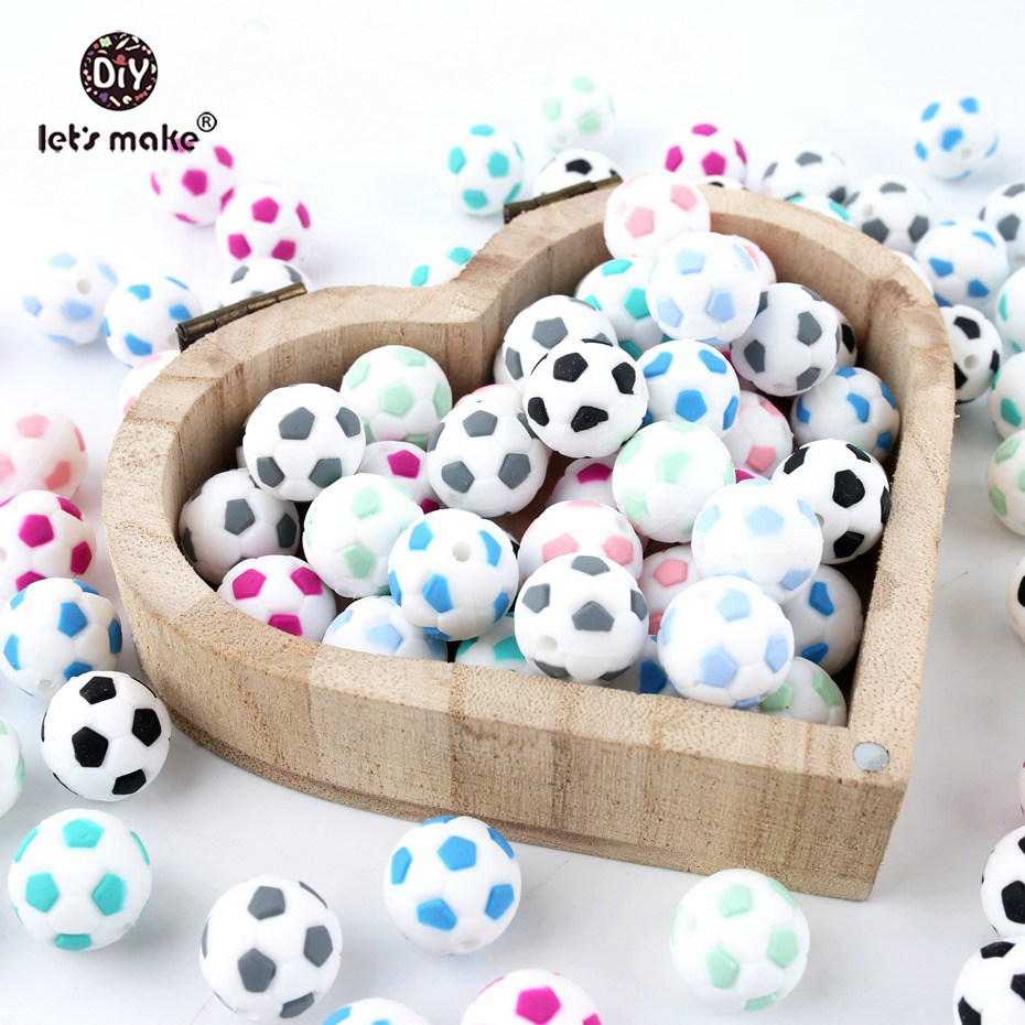Let's Make Silicone Football 20PC BPA Free Silicone Teether Silicone Chewing Beads DIY Crafts Accessories Nursing Pendant