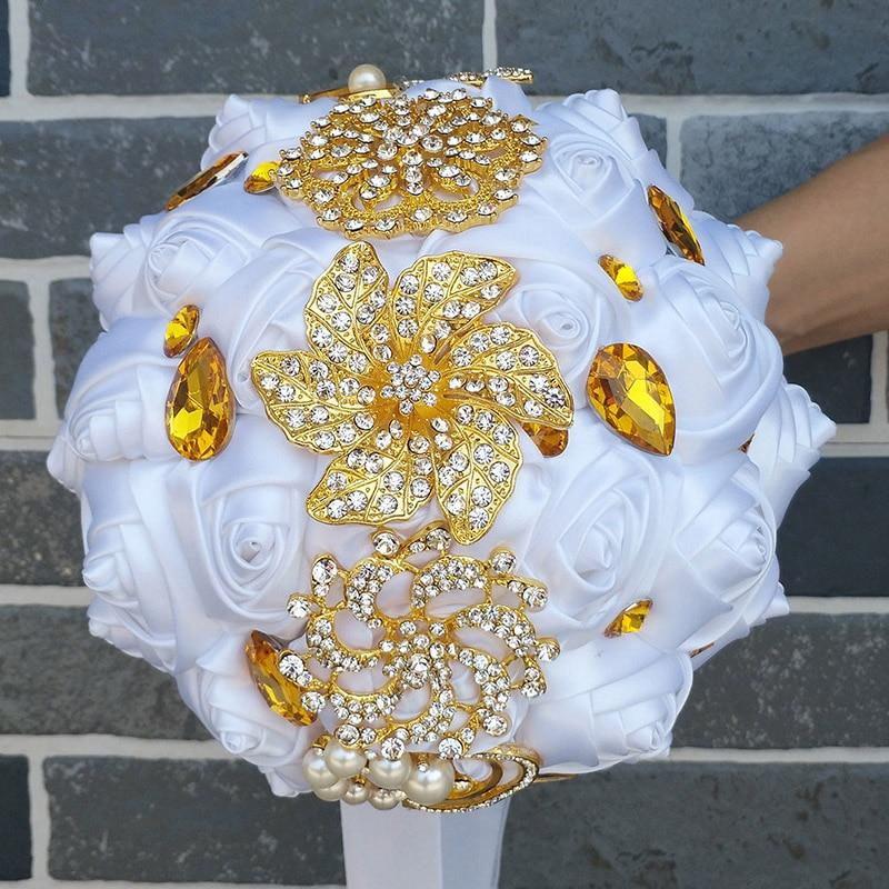 WifeLai-A arany bross menyasszonyi kéz gazdaság virág csokrok - Esküvői tartozékok - Fénykép 4