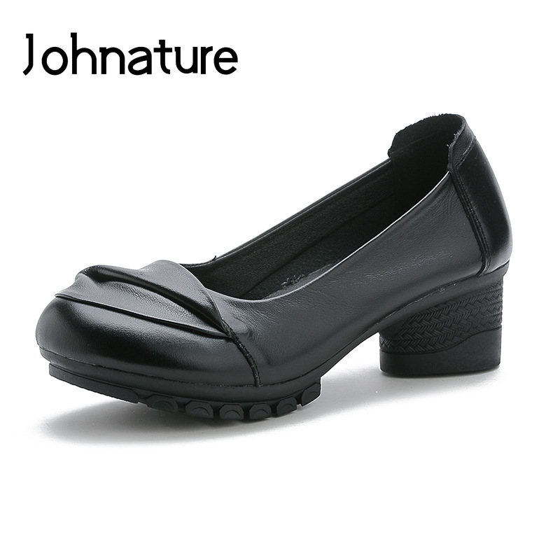 Johnature 2019 New Spring/autumn Genuine Leather Round Toe Solid Flowers Slip-on Sewing Handmade Women Shoes Med Heels PumpsJohnature 2019 New Spring/autumn Genuine Leather Round Toe Solid Flowers Slip-on Sewing Handmade Women Shoes Med Heels Pumps