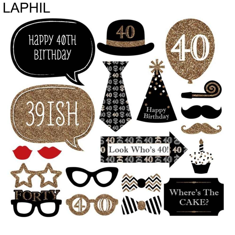 Detail Feedback Questions About LAPHIL 40th Birthday Photo Booth Props Happy 40 Year Party Decorations Adult Man Women Favors Photobooth