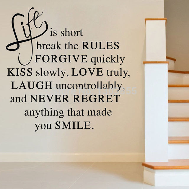 Image of: Cute High Quality 6045cm Life Is Short Love Quote Wall Sticker Vinyl Decal Home Room Decor Remonable Babelin Drop Shipping Asd Hallmark Ideas High Quality 6045cm Life Is Short Love Quote Wall Sticker Vinyl