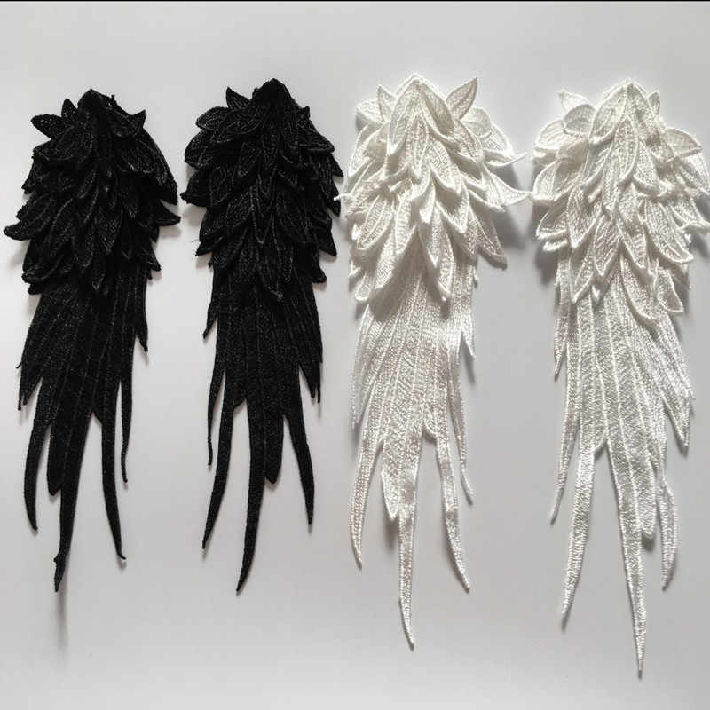 SASKIA 1Pair 3d Angel Wings Patches For Women Clothes Embroidery Patch Motif Applique Sew Clothing Accessories Diy Black White