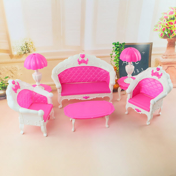 Girl Birthday Gift Dollhouse Plastic Vintage Sofa Couch Desk Lamp 6 Items/Set Accessories For Barbie Doll For Monster High-in Dolls Accessories from ...