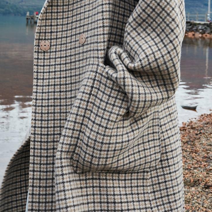 Vero Moda Women's 19 new double-sided 100% wool long plaid woolen overcoat | 318427508 17
