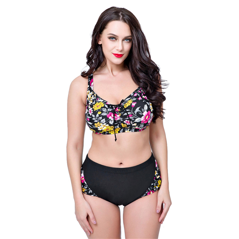 High Waist Swimsuit 2017 Floral Print Vintage Retro Underwire Bikinis Large Size Push Up Bikini Set Women Bandage Swimwear summer sexy swimsuit vintage high waist bikini retro push up swimwear women plus size bathing suit printed floral bikinis set