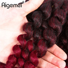 Aigemei 20strands 80g Jumpy Wand Curl Twist Crochet Braids Jamaican Bounce African Synthetic Braiding Hair Extension