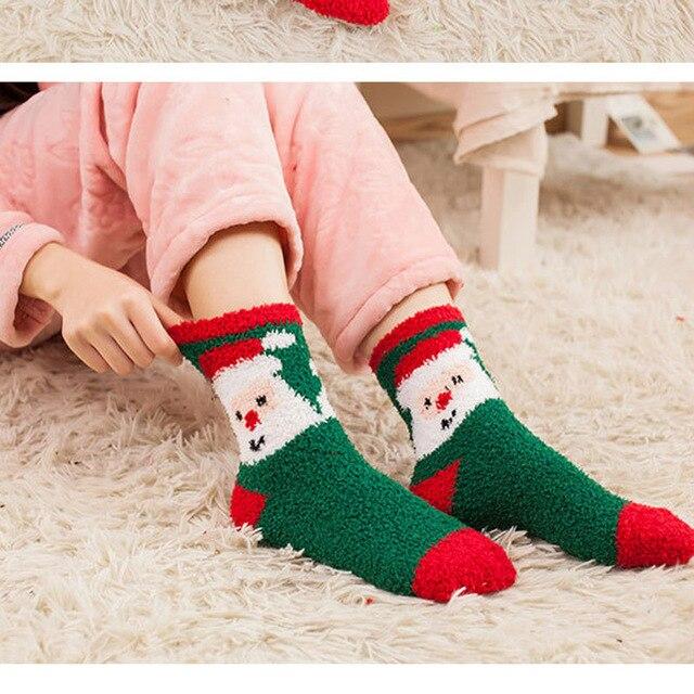 6 Pares De Un Paquete de Navidad Calcetines Calcetines De Cachemir de Coral de Dibujos Animados de Invierno Encantadora Mujer de Suave Para El Festival De Navidad Regalos