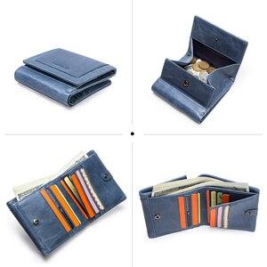 Image 4 - Contacts cartera de piel auténtica para mujer, monedero pequeño, monedero, tarjetero, Mini Portomonee