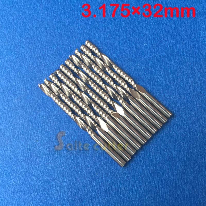 цены  10 pcs Carbide endmill single flute spiral CNC router bits 3.175mm 32mm