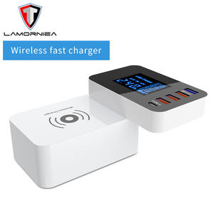 Charger-Station-Hub Led-Display Power-Adapter Desktop-Strip Type-C Quick-Charge Fast-Charging